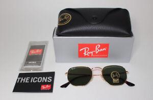 RAY BAN RB3548N 001 HEXAGONAL Gold Green 51 mm Unisex Sunglasses