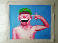 Hand made Modern abstract Oil Painting on Canvas Smiling face no frame #H266