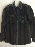 Men Roar Western Shirt 9X878  Size   Brown Embroidered
