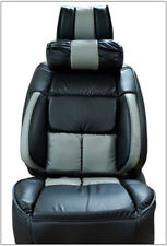 UNIVERSAL LIMOUSINE BLACK/GREY S.LEATHER FRONT ONE SEAT COVER WITH NECK CUSHION