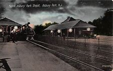 c.1910 North Asbury Park Depot at Night  Asbury Park NJ post card Railroad