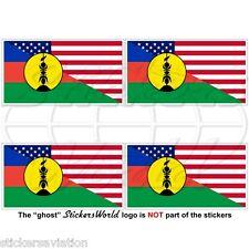 "USA United States America-NEW CALEDONIA Kanak Flag 50mm (2"") Stickers Decals x4"