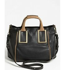 Chloe Bag Tote Ethel Medium Crossbody Black and Taupe Leather Satchel