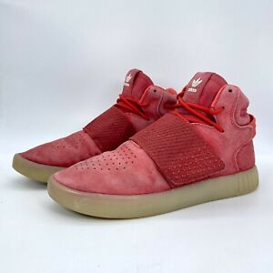 Adidas Mens Tubular Invader Strap Red Suede Mid Top Shoes BB5039 Sz 7.5