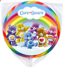 24 Care bears Welcome Care-a-lot Stickers Round Labels Bag Lollipop Party Favors