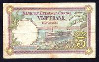 5 FRANCS 1926 ELISABETHSVILLE BELGIAN CONGO  P-8b