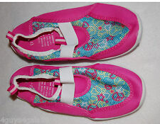 Toddler Girls Watershoes Aqua Sock Pink Aqua Peace Sign Stars M 7-8