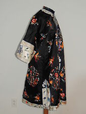 Chinese Black Silk Hand Embroidered Robe Med