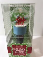 Joy Holiday Cheer Bottle Stopper Snow globe Two's Company New