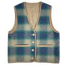 New listing Vintage Women's Small Ll Bean Wool Blend Reversible Plaid Vest Button Front Vtg