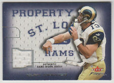 "KURT WARNER Rams 2001 Fleer Focus ""Property Of"" GAME WORN JERSEY #POKW Mint SP"