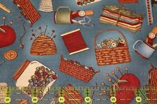 QUILTING BEES - Teresa Kogut Sewing Notions on Blue - Rare and OOP - Fat 1/4