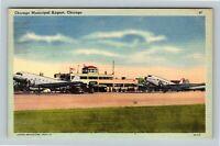 Chicago IL, Municipal Airport, Airplanes Terminal, Linen Illinois c1947 Postcard