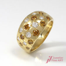 Wunderschöner Ring 18K GG - Brillantbesatz 0,88 ct TW-VSI & fancy yellow - Gr.49