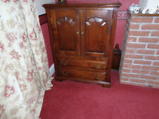 ANTIQUE STYLE BROWN OAK/ ELM ? STORAGE CUPBOARD WITH DRAWER