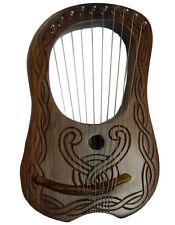 NUOVA Lira Arpa Sheesham legno 10 stringhe di metallo INCISO A MANO LIBERA CASE & Chiave/Arpa