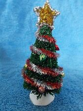"""Dept 56 Christmas Village Christmas Tree With Tinsel & Ornaments 4 1/4"""""""