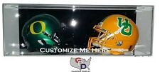 Custom Double Mini Helmet Display Case Acrylic Wall Mount Personalize Your Text