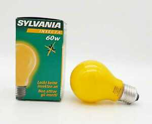 3x SYLVANIA Anti Insecta 60W E27 Insect Protection Bulbs Yellow Made IN France