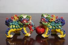 FengShui WuCai pottery porcelain Evil Guardian Lion Foo Fu Dog Kilin Statue Pair