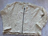 Free People Womens Size Small Cream Textured Sweater Zip-Up Jacket Oversized EUC