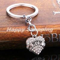 Family Gifts Silver Rhinestone Crystal Heart Pendant Keyrings Keychain Key Chain
