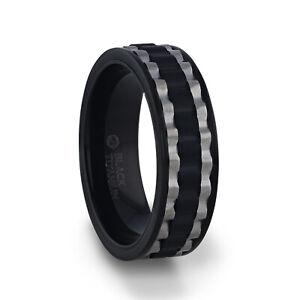 GEAR Two Toned Wavy Centered Brushed Black Titanium Men's Wedding Band - 8mm