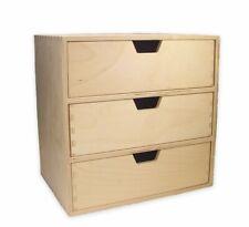 stabiles Schubladen-Regal mit 3 großen Schubladen, Holz unbehandelt