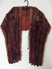 Vintage Natural Dark Mahogany Large Mink Stole/Cape