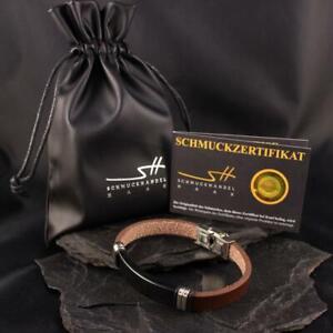 Faux Leather Stainless Steel Bracelet,Men's + Jewellery Bags,Schmuckhandel Haak