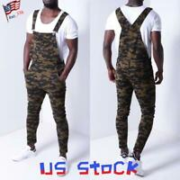 Men's Jeans Bib Pencil Pants Camo Printed Suspenders Denim Trousers Casual US