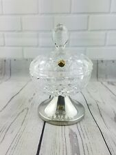 Kirk Stieff Pewter Lead Crystal Pedestal Foot Candy Bowl West Germany CIPS