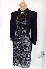 Stunning KAREN MILLEN Black Graphic/ Lace/ Embroidery Collared Dress Uk 8-10