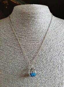 Vintage Turquoise Cage Pendant Necklace