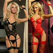Sexy Heiß Damen Dessous Korsage Rot Corsage Bodydoll Reizwäsche Set String S-3XL