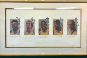 LAKERS LEGENDS AUTOGRAPHED LITHOGRAPH 5 SIGS CHAMBERLAIN JABBAR with COA