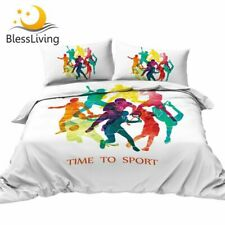 Time To Sport Bed Set Colorful Duvet Cover Football Basketball Bedding Set