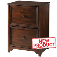 2 Drawer Office File Cabinet Rustic Storage Hardwood Home Wood Furniture Brown