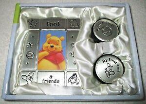 DISNEY GIFT SET~POOH~Metal Frame~Tooth & Curl Keepsake Round Boxes NEW IN BOX
