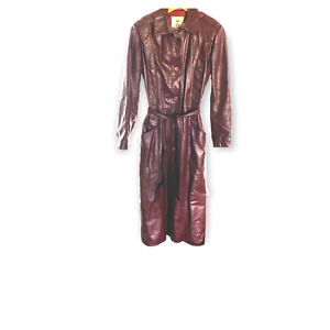 Vintage red leather trench coat, belted 70s jacket size small