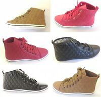 LADIES GIRLS FLAT QUILTED LACE UP HI TOP TRAINER BOOTS ALL SIZE