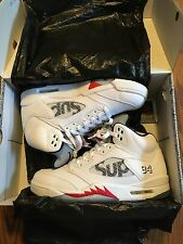 NEW SUPREME JORDAN 5 V WHITE SIZE 10 100% Authentic Flight Club New York