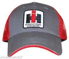 International Harvester Two Tone Gray & Red Mesh Back Mens Cap