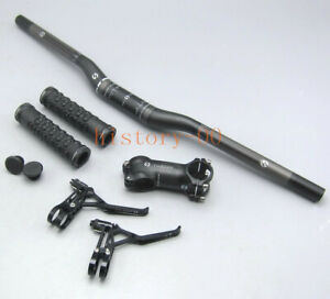 MTB Road Bike Riser Bar 31.8*580-640mm stem 6/17° Handlebar Grips Brake Levers