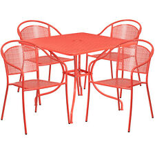 35.25'' Square Coral Indoor-Outdoor Patio Resturant Table Set w/4 Chairs
