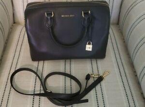 Michael Kors Bag Leather Duffle Mercer Satchel Black Purse Gold Hardware