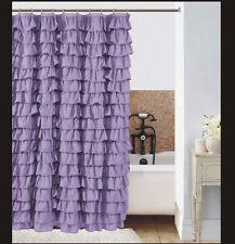 Waterfall Ruffle Fabric Shower Curtain color  lilac