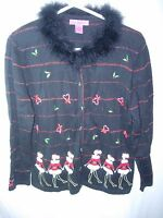 WOMENS BLACK RED GREEN HOLIDAY DANCING GIRLS CHRISTMAS PARTY SWEATER SIZE L 42