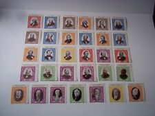 US President labels.  First 32 US presidents.  Mint, NH - 1 label has a tear.