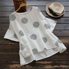 UK Womens Summer Short Sleeve T Shirts Blouse Ladies Tunic Loose Tops Plus Size